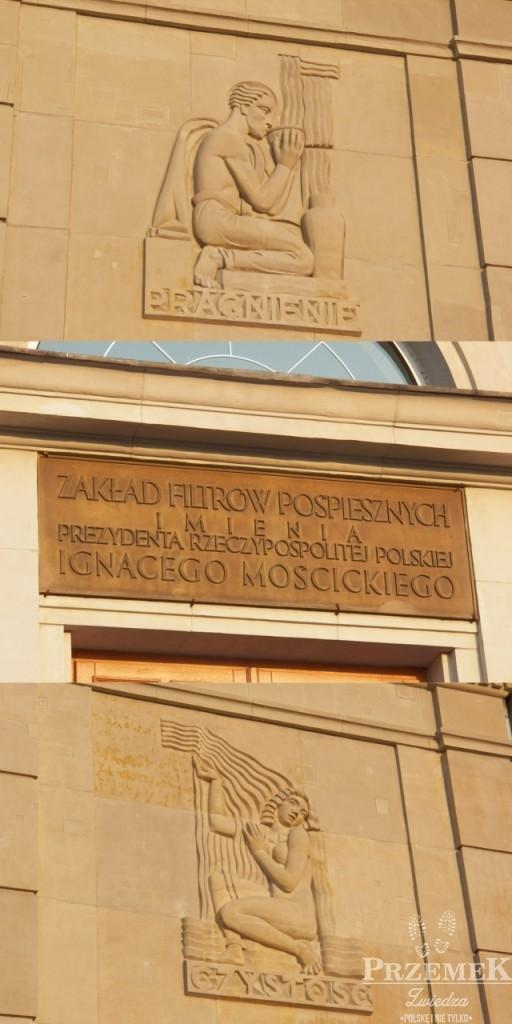 Płaskorzeźby na froncie budynku Zakładu Filtrów Pospiesznych