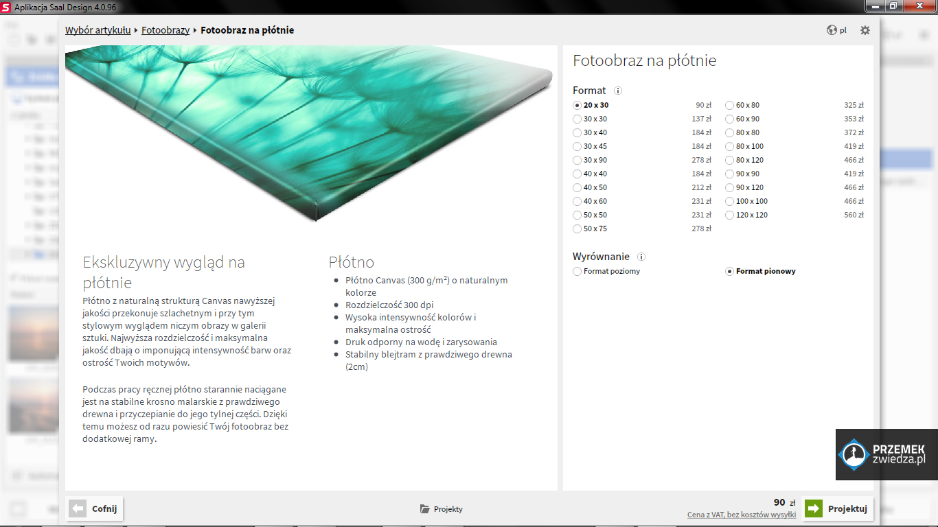 Dostępne formaty fotoobrazu na płótnie od Saal Digital Polska